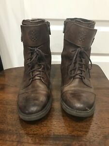ad90b611c49 Vince Camuto Women s Brown Leather Lace Zip Up Combat Boot US Size ...