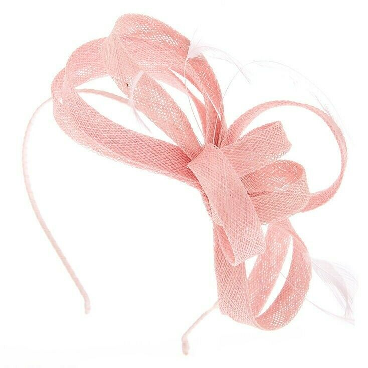 **** BRAND NEW **** Claires Accessories Feather Bow Fascinator Headband in Pink