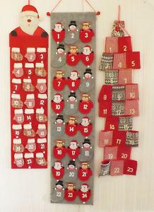 Large Hanging Fabric Santa Father Christmas Advent Calendar Countdown