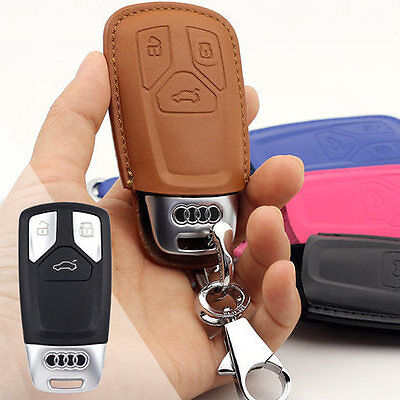 17 18 19 AUDI Q5 Q7 A4 A5 TT S leather FOB key chain ring cover case shell hook