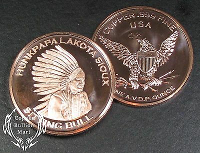 "20 - 1oz Copper Bullion Round - ""Lakota - Sitting Bull"" Design"
