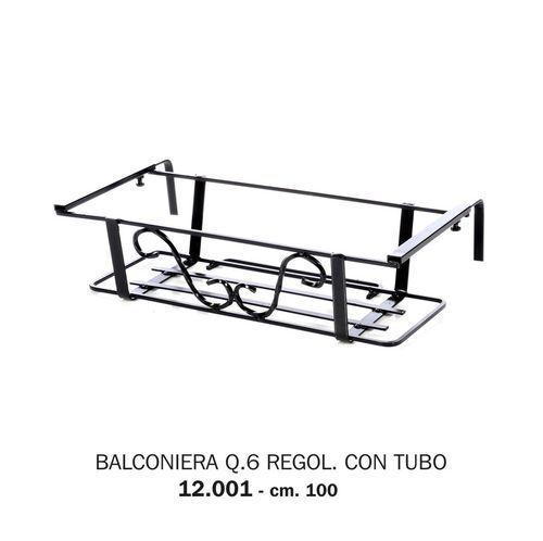 BALCONIERA FIORIERA IN FERRO BATTUTO QUADRO 6 REGOLABILE CON TUBO