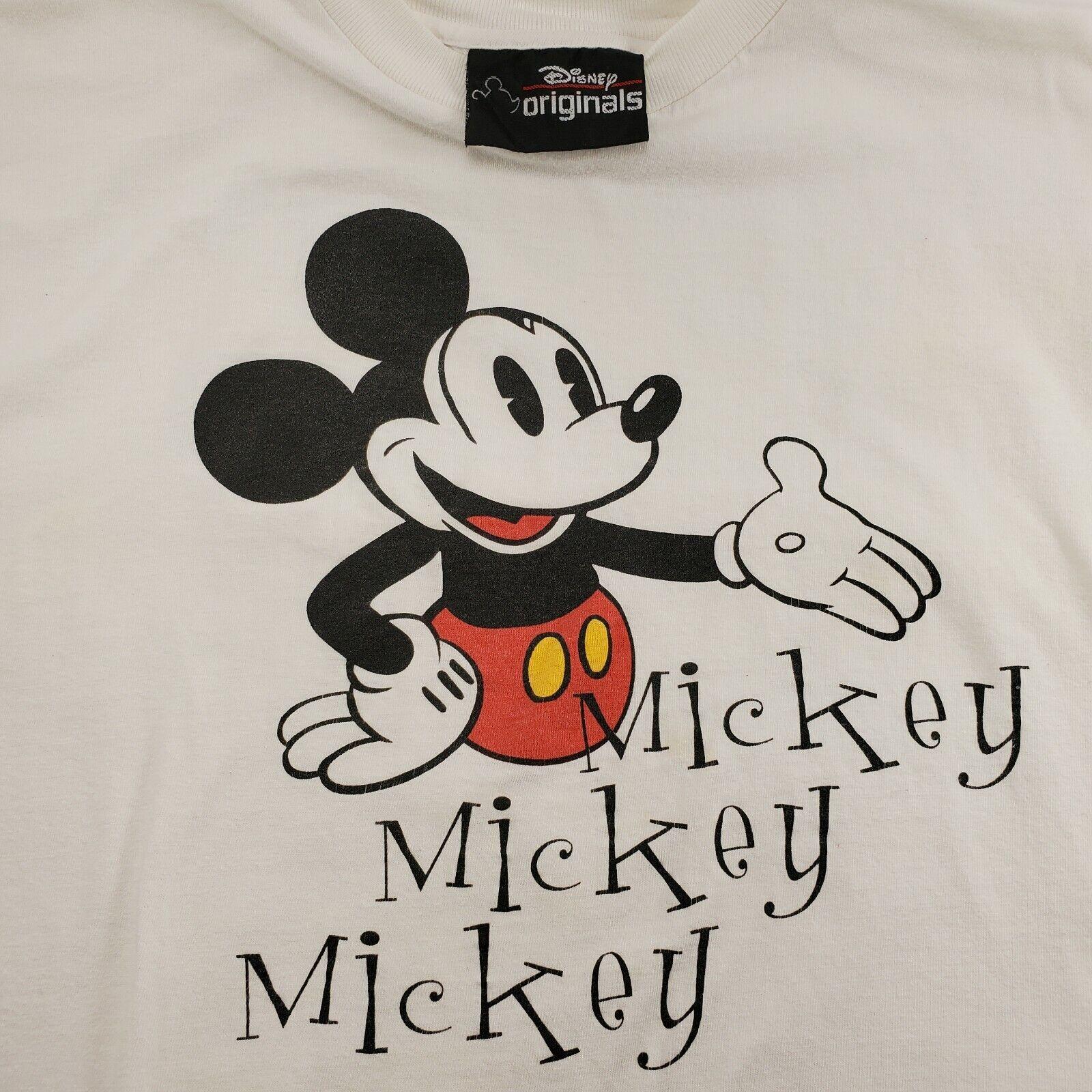 Vintage Mickey Mouse M T-Shirt White Single Stitch Cotton Medium Genuine Disney