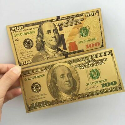 2PCS Old and New Gold Foil USA Banknote 100 Dollar Bills Bank Note Paper Money
