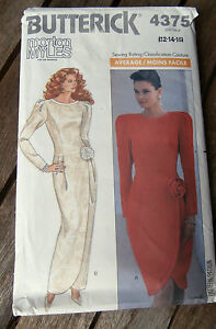 Oop-Butterick-4375-Morton-Myles-lined-evening-dress-dropped-waist-size-12-16-NEW