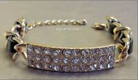 Black Leather Gold Chain Link Id Pave Crystal Clasp Bracelet