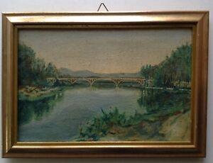 Tableau-Ancien-Post-Impressionniste-Paysage-Pont-a-Huy-Meuse-Huile-sur-toile