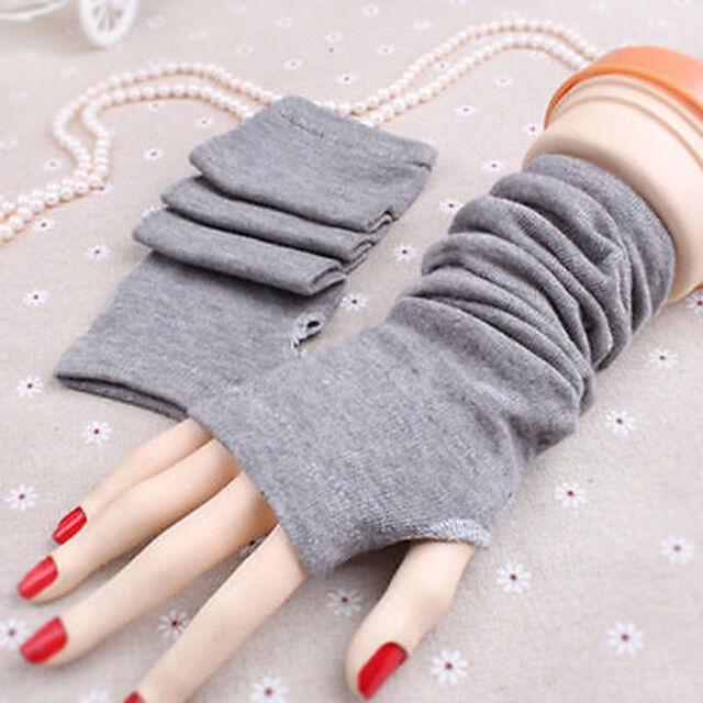 Gray Women Knitted Fingerless Winter Gloves Unisex Soft Warm Thin Long Mitten