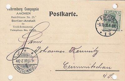 Fahrenberg Compagnie Sortier-anstalt Postkarte 1908 Aachen
