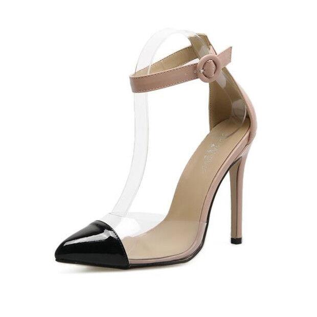 Sandali eleganti tacco stiletto 11 cm beige noir pelle sintetica eleganti 9813