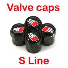 Valve Cap Audi S Line Car Sline Black Wheel Tire Metal Tyre Anti-Theft Air Stems