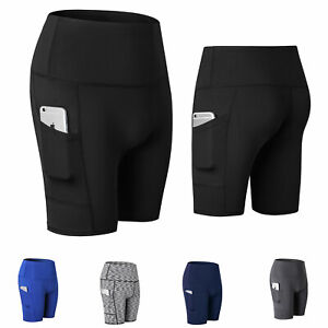 Women-039-s-High-Waist-Out-Pocket-Yoga-Shorts-Tummy-Control-Workout-Running-Athletic