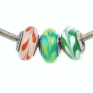 3-Authentic-Pandora-Murano-925-Green-Red-White-Swirl-Murano-Glass-Bead-Charms