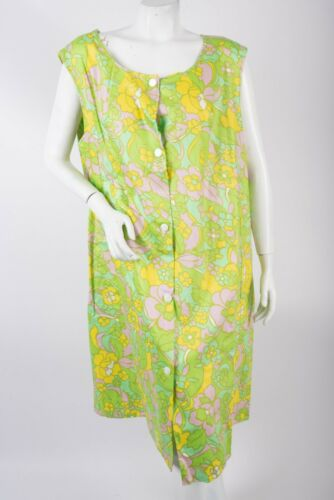 Vintage 70s Womens Dress HouseCoat Green Flower Ha