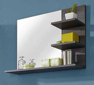 Turbo Badspiegel Badezimmer Bad Spiegel in Sardegna grau mit Regal  MM44