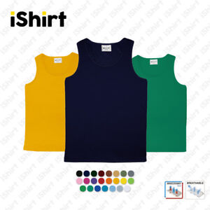 MENS-SINGLET-100-POLYESTER-COOL-DRY-BREATHABLE-PLAIN-COLOUR-SPORTS-SINGLET
