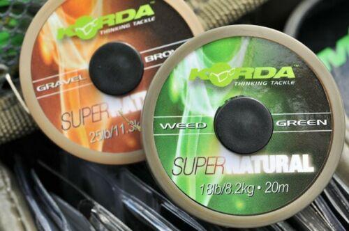 Korda Super Natural Soft Braid Hooklink tous vert//marron 18lb//25lb