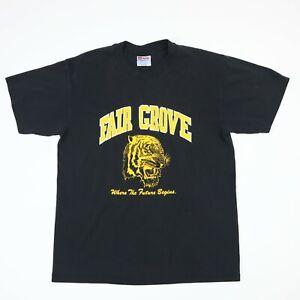Vtg-90s-Fair-Grove-Tigers-School-TShirt-Faded-Black-Single-Stitch-Retro-Grunge-M