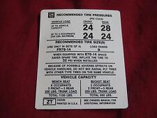 1977 CHEVROLET NOVA AND NOVA SS DOOR PILLAR TIRE PRESSURE DECAL STICKER