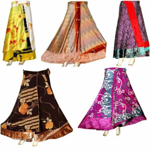12 PC Wholesale Lot Skirt Women Wrap Around Silk Skirt Short Skirt Indian