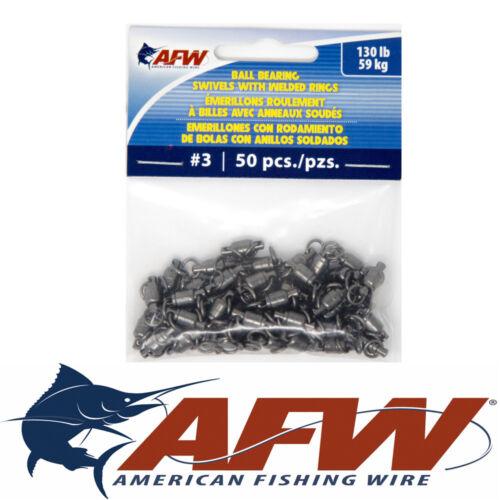 #3 130lb AFW American Fishing Wire Ball Bearing Swivel BB Swivels Leaders QTY 50