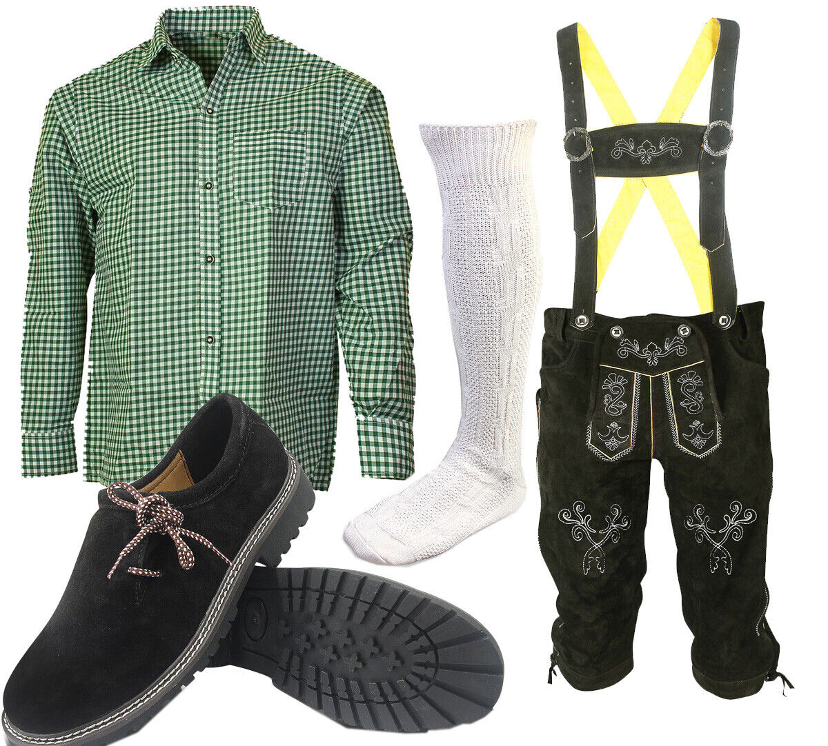 Traditional Costume Set Leather Trousers 6tlg With Trousers Shirt Shoes SHLGH04
