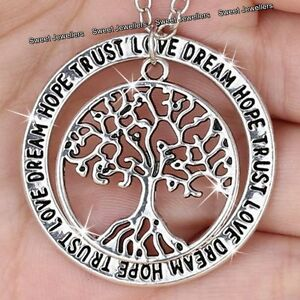 Xmas-Gifts-For-Her-Silver-Tree-Pendant-Necklace-Engraved-Love-Sister-Mum-Women