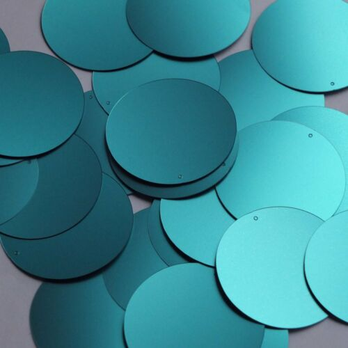 Round Sequin 40mm Turquoise Blue Matte Satin Metallic Loose Couture Paillettes