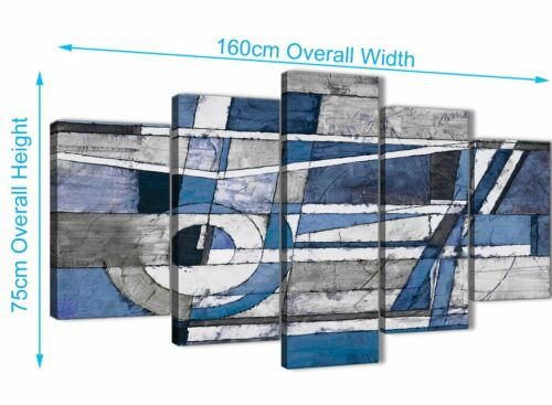5 Panel Indigo Blue White Painting Abstract Office Canvas Decor 5404-160cm