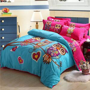 hx cotton owls bed quilt queen size duvet cover doona. Black Bedroom Furniture Sets. Home Design Ideas