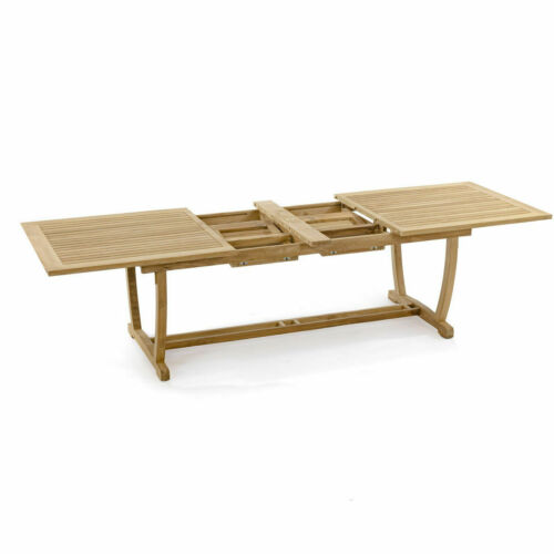 "9-Pc Outdoor Teak Dining Set: 117"" Masc Rectangle Extension Table, 8 Chairs Vera"