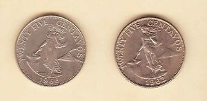 Philippines-25-centavos-Lady-with-Hammer-1962-1964-2-coin-Uncirculated