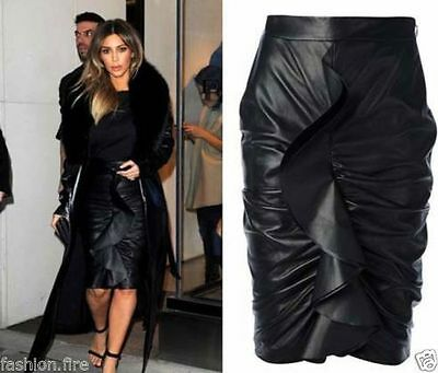 Womens Ladies Frill Pencil PVC Skirt Midi Celeb Inspired Pencil Frill Skirt