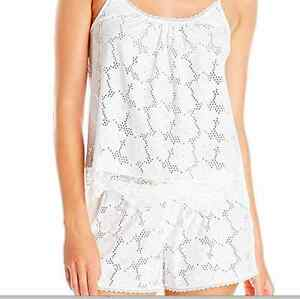 689904f38a4 Details about NWT In Bloom by Jonquil Lucky Girl White Eyelet Pajama Sleep  Shorts 2pc Set M