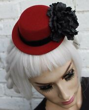 GATSBY LADY 20S VTG STYLE RIBBON PLUM RED MINI TOP HAT LOLITA PINUP DOLL