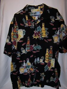 Men-AFTCO-Bluewater-Shirt-XL-Tropical-Cocktail-CERNEZ-Drink-Camp-Hawaiian