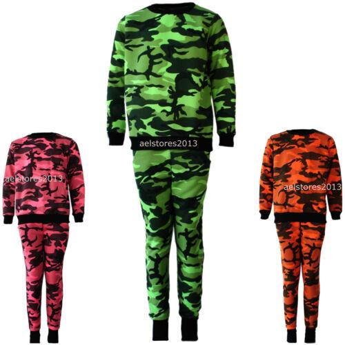 Bambine Motivo Mimetico Esercito Tuta Fluorescente Verde Rosa 2-13 anni