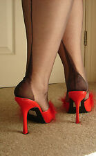 Gio FF Fully Fashioned Point Heel Nylon Seamed Stockings Barely Black 12.5 XXL