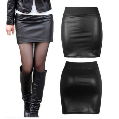 NEW WOMENS BLACK WET PVC LEATHER LOOK MINI PENCIL TUBE BODYCON SKIRT SIZE 8-26