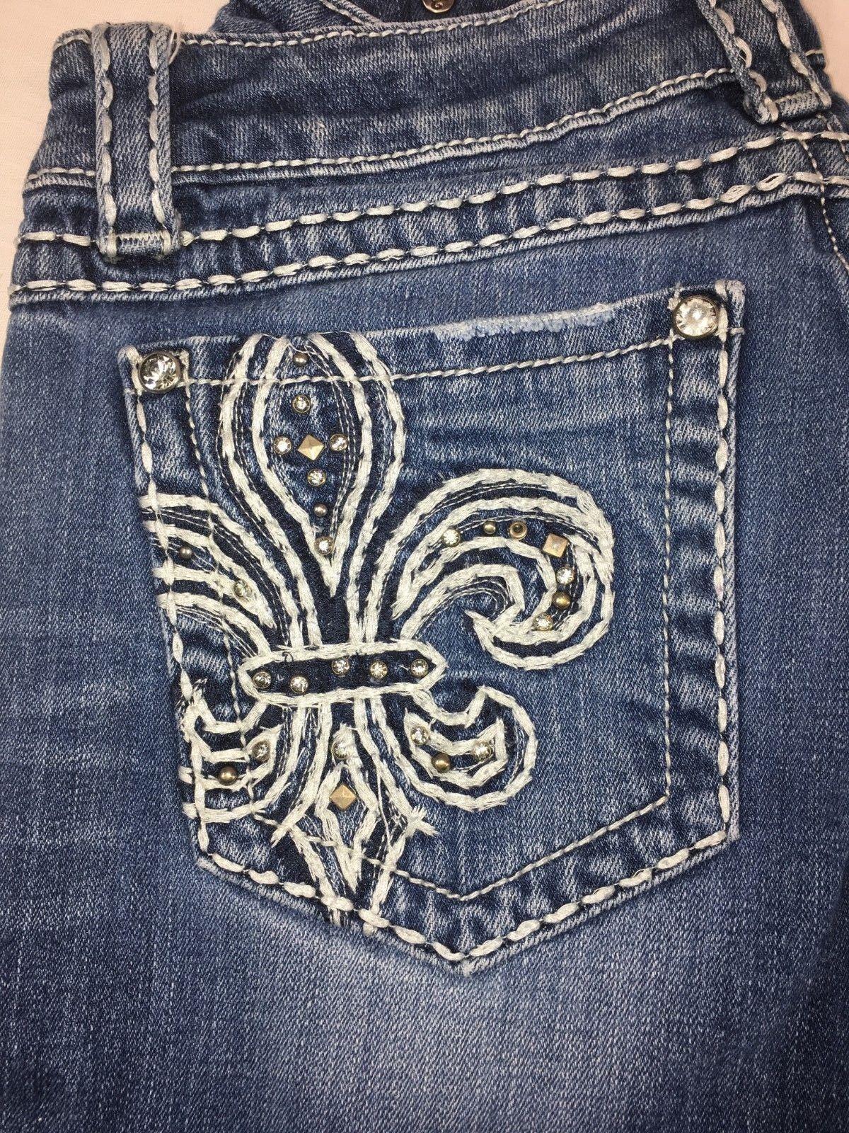 Women's MISS ME Fleur De Lis Stud Rhinestones Boot Cut Denim Jeans size 30