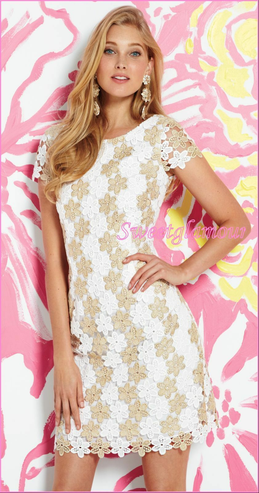 Lilly Pulitzer 55897 gold Metallic Two Tone Truly Petal Lace Barbara Dress