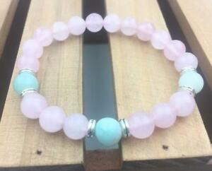 8mm-Pink-Jade-Armband-elastisch-Edelstein-Bead-Stretchy-Mala-Yoga-Heilung-Sutra