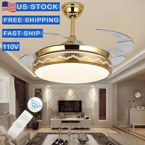 Details About Led 42 Crystal Chandelier Ceiling Fan Light Blade Invisible Elegant Gold Remote