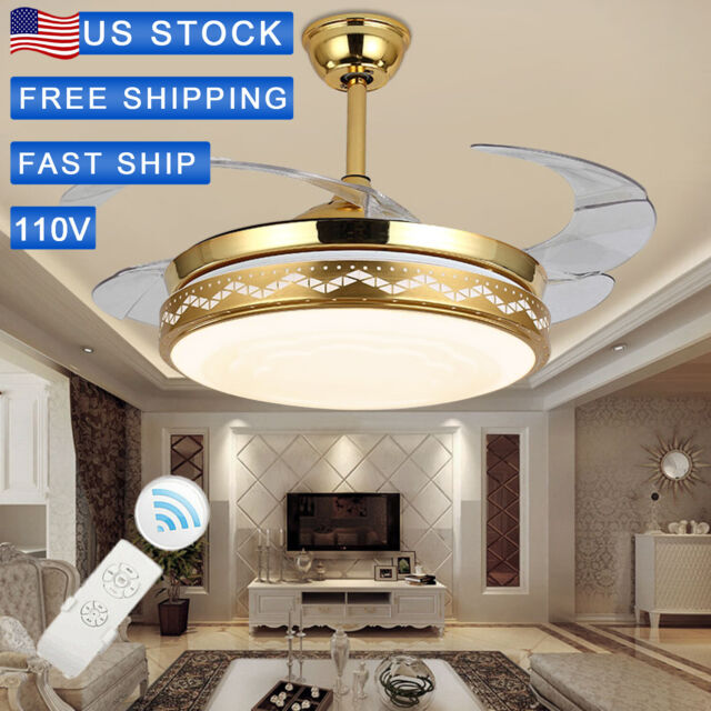 42 Retractable Ceiling Fan Light Lamp Remote Control Dimmable Led Chandelier