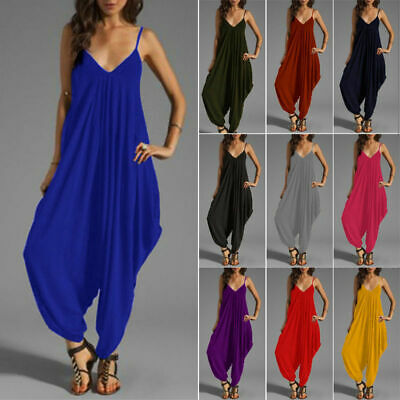 Ladies Women Strappy Harem Baggy Jumpsuit Play Suit All in One Top New