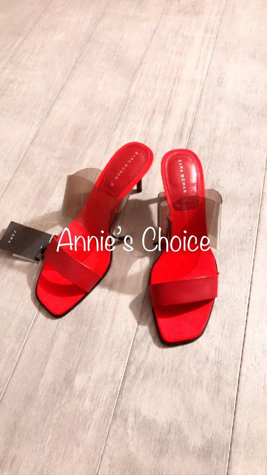 ZARA Women's Vinyl High Heel Sandals(Red, US  8 EUR  39)