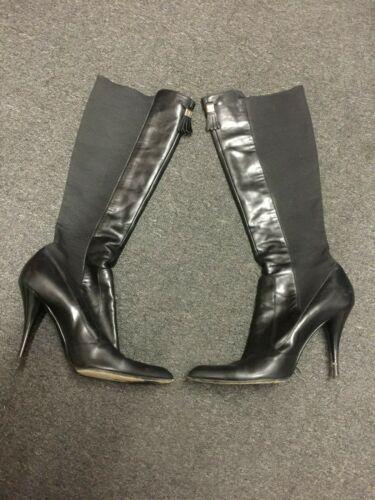 YVES SAINT LAURENT YSL Black Leather High Heels Ta