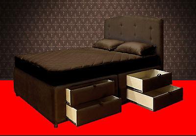 King Platform Bed Frame With Storage Drawers Upholstered
