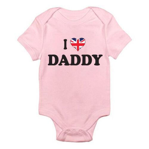 I Love British Daddy-Papá Padre Reino Unido temática Baby crecer Suit