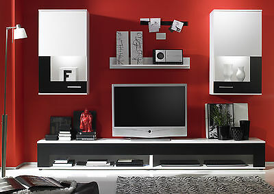 Wall Unit Entertainment Unit Living Room TV Stand Salerno V2 White / Black